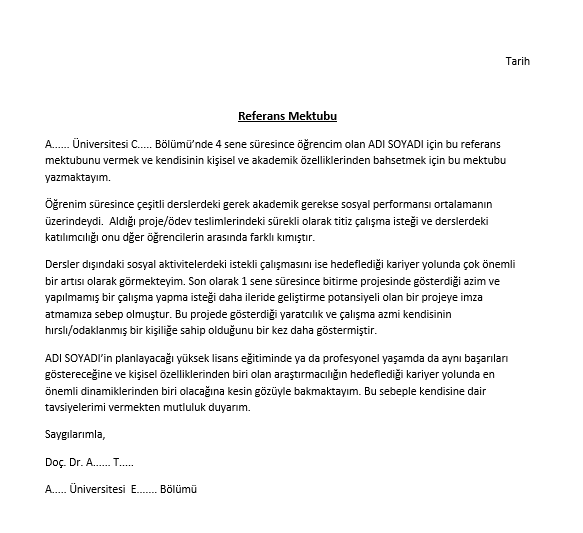 referans mektubu örneği